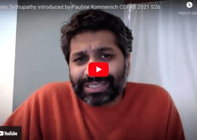 Praveen Sethupathy introduced by Pauline Komnenich COFAS 2021