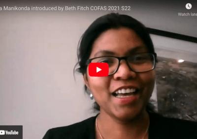 Lydia Manikonda introduced by Beth Fitch COFAS 2021