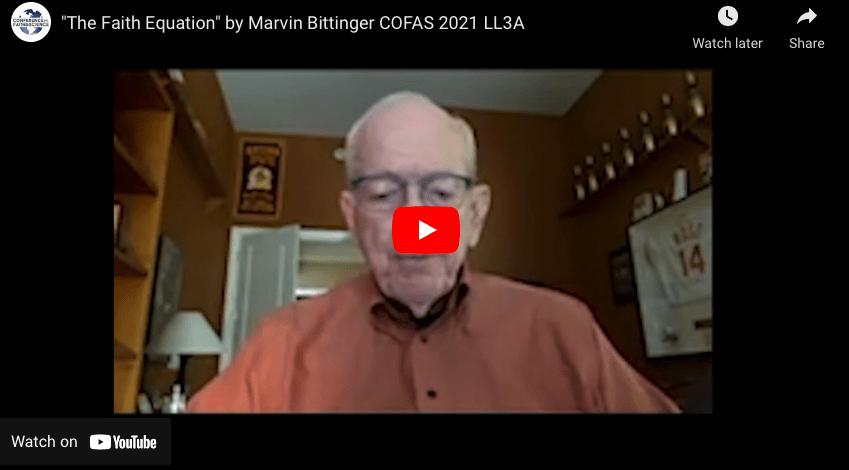"""""""The Faith Equation"""" by Marvin Bittinger COFAS 2021"""